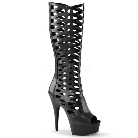 4cf71cc588 Shoes | 6 Inch High Heel Platform Caged Knee High Boots | Poshmark